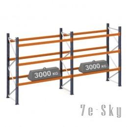 Rayonnages à palettes 3500 x 2 x 2700 mm sol + 3 niveaux