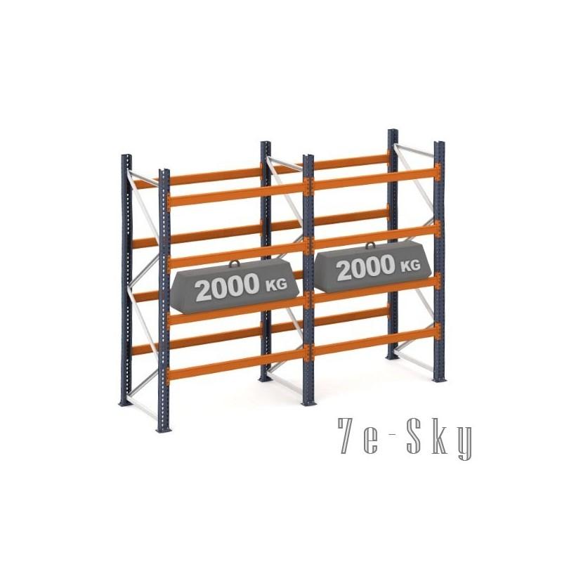 Rayonnages à palettes 4000 x 2 x 1825 mm - Sol + 4 niveaux