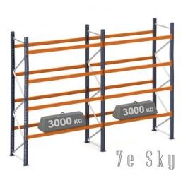 Rayonnages à palettes 4000 x 2 x 2700 mm - Sol + 4 niveaux