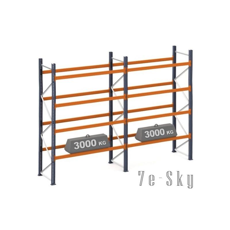 Rayonnages à palettes 4500 x 2 x 2700 mm - Sol + 4 niveaux