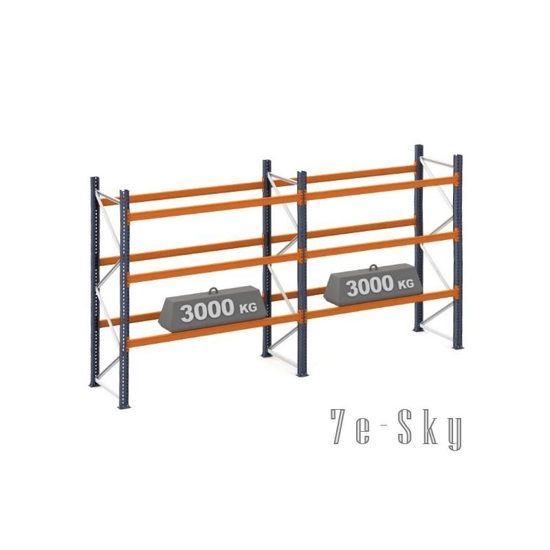 Rayonnages à palettes 4500 x 2 x 2700 mm - Sol + 3 niveaux