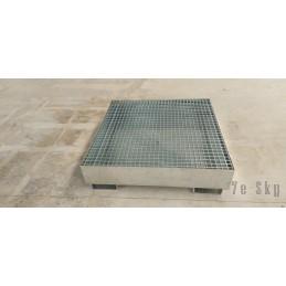 Bac de rétention en acier 1100 x 1100 x 200 mm, galvanisé, avec pieds et caillebotis